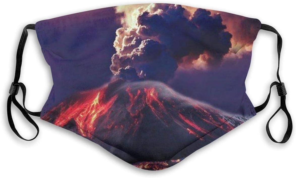 Pañuelo de fibra de PET con cinco capas de protección lavable, transpirable y reutilizable | Erupción volcán | Divertida cubierta de polvo para adultos | hombres y mujeres | con filtro |