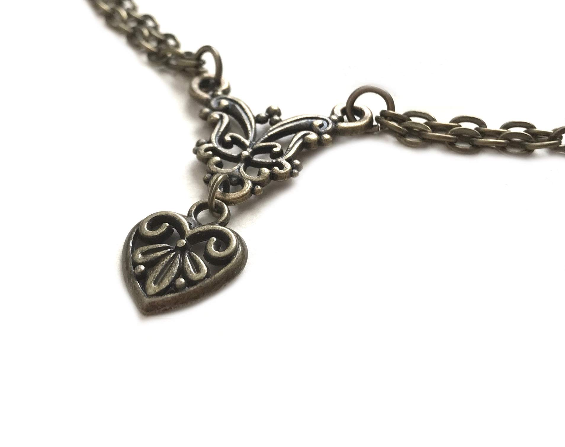 Heart Necklace Dainty Victorian Bronze Filigree 8th Wedding / 19th Wedding Wrapped & Gift Boxed