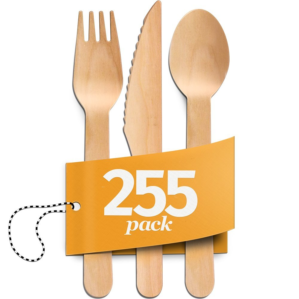 Disposable Wooden Cutlery - 255pc Set - 85 Forks, 85 Spoons, 85 Knives - Natural, Eco-Friendly, Biodegradable & Compostable Utensils - Great for Parties, Weddings & Dinner Events - By Aevia