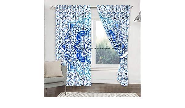 2 Unidades 82 cm de Largo Color Azul Cortinas para Colgar en la Pared con dise/ño de Mandala Sophia Art