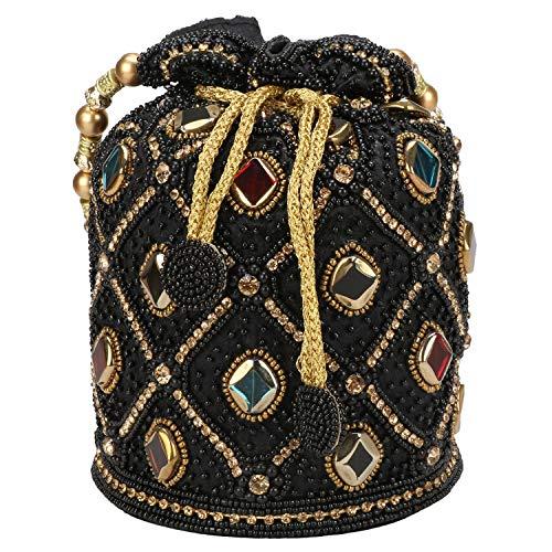 Indian Ethnic Clutch Silk Potli Batwa Pouch Bag with Beadwork Gift For Women (Black) ()