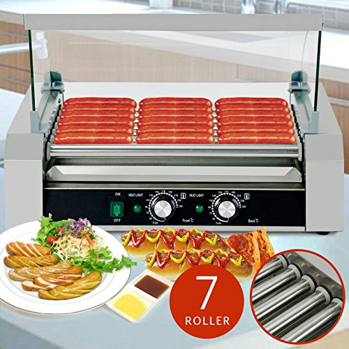 US Stock Roller Commercial 18 Hotdog Hot Dog 7 Roller Grill Cooker Machine - Near Outlet Me Vs