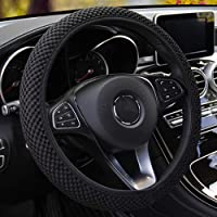MRTIOO Soft Breathable Microfiber Ice Silk Elastic Cloth Steering Wheel Cover, Cold or Hot Universal 15 inch, Fit Suvs…