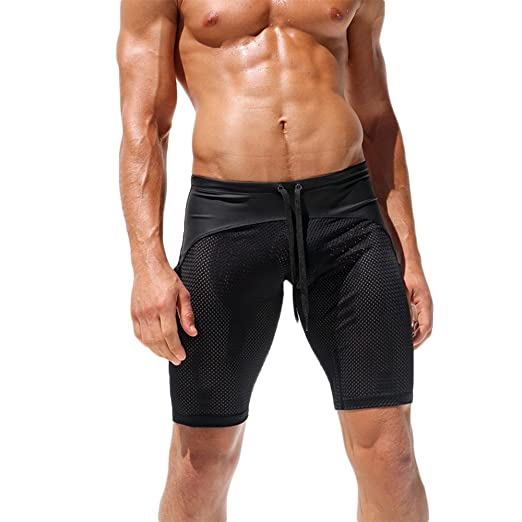 f536390139 Pursuitlight Men Sheer Mesh Lace Up Sexy Swim Trunks Swimwear Jammers  Sports Fitness Quick-Drying
