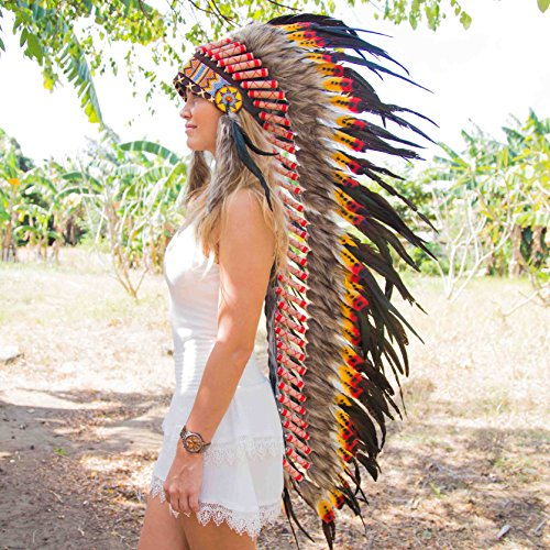Novum Crafts Feather Headdress | Native American Indian Inspired | Multicolored by Novum Crafts (Image #3)