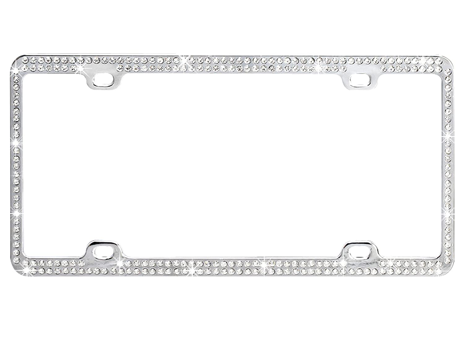 Amazon.com: Chrome Metal Car License Plate Frame with Double Row ...
