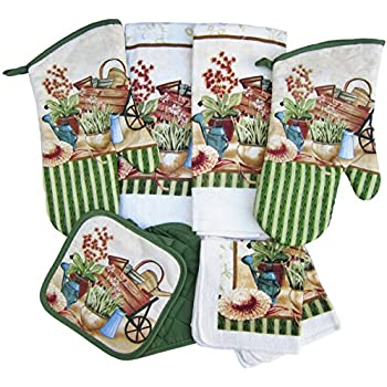 8 Piece 'Gardener's Paradise' Kitchen Linen Set (Oven Mitts, Pot Holders, Towels and Dish Cloths)