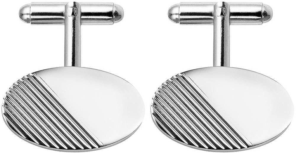 Silver Orton West Mens Rhodium Plated Half Striped Oval Cufflinks