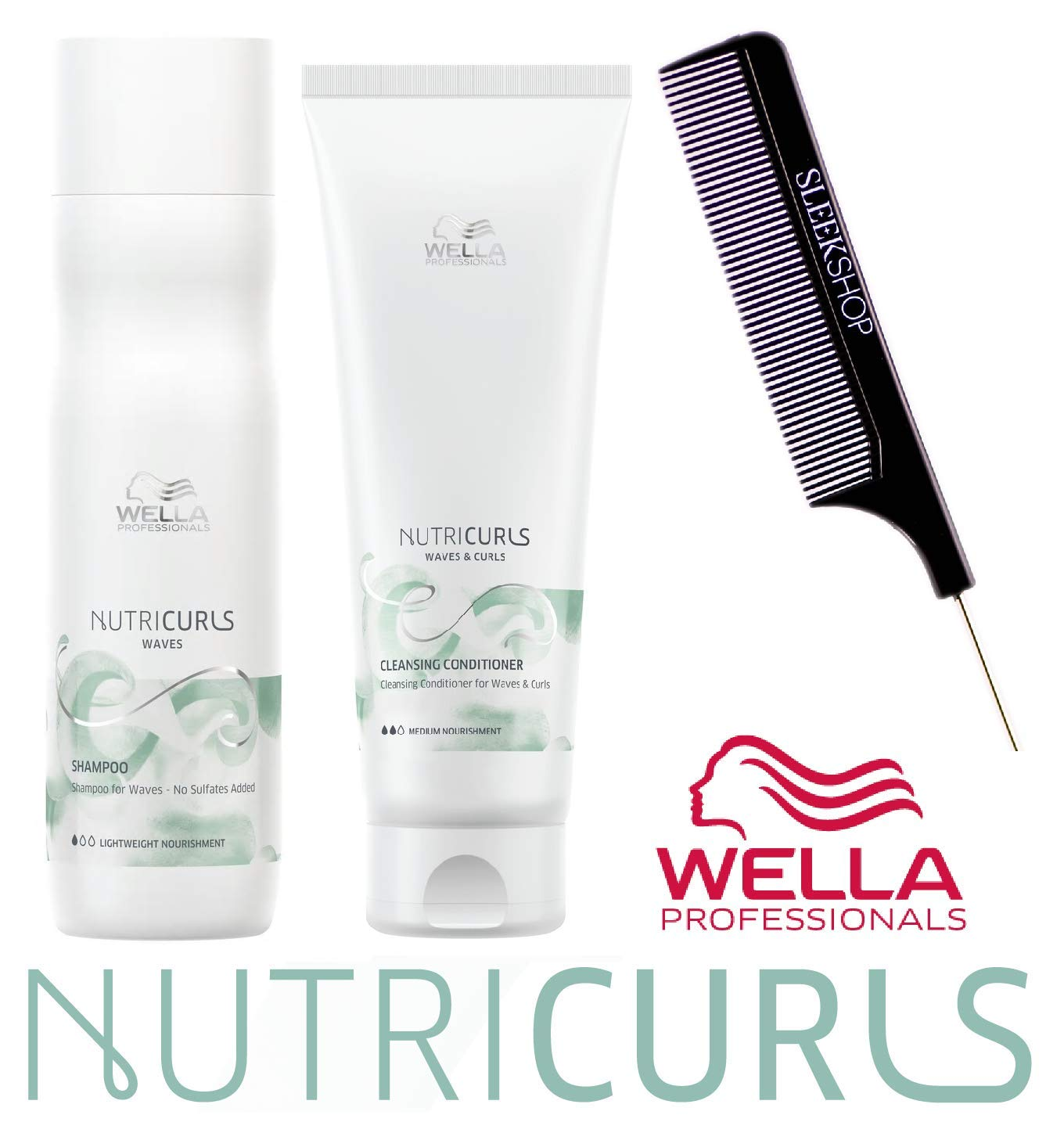 Wella NUTRICURLS Shampoo & Cleansing Conditioner for WAVES & CURLS Duo Set (w/Sleek Comb) Lightweight + Medium Nourishment, No Sulfates Added (8.4 oz + 8.4 oz - DUO KIT) by Coty Wella
