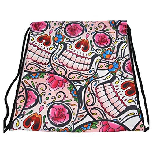 Mengonee Unisexe 3D Impression Schoolbags Étudiant De Mode Cordon Sac À Dos Femmes Cordon Sac À Dos Voyage Collège Sac 6 #