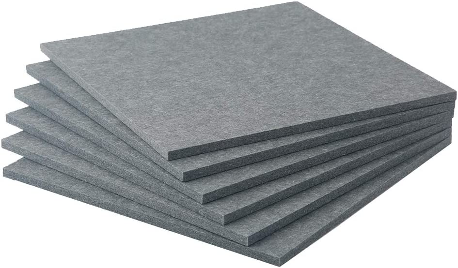 Acoustic Absorption Panels 12'' X 12'' X 0.45'' Soundproofing Insulation Panel Tiles High Density Polyester Fiber Acoustic Treatment for Studio Home and Office (12 Pack, Gray) (12 Pack, Dark Grey)