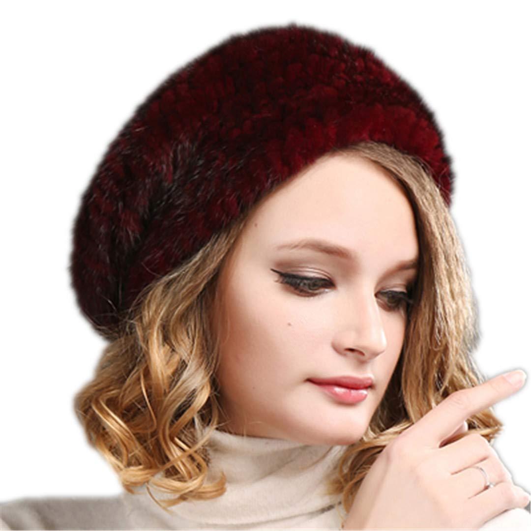 100% Natural Mink Fur Hat Women Winter Fur Hats Mink Fur Beret Wine Red