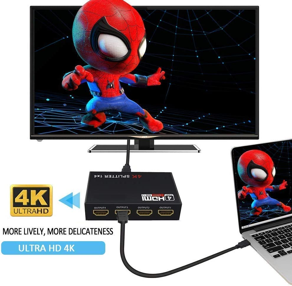 Supports 3D 4K HD1080P for PS4 XboxRoku Blu-Ray Player Apple TV HDTV 4K HDMI Splitter 1 in 2 3 4 Out 4K@30HZ WEILIANTE V1.4 HDCP Powered HDMI Splitter with AC Adaptor 1 Input to 4 Outputs