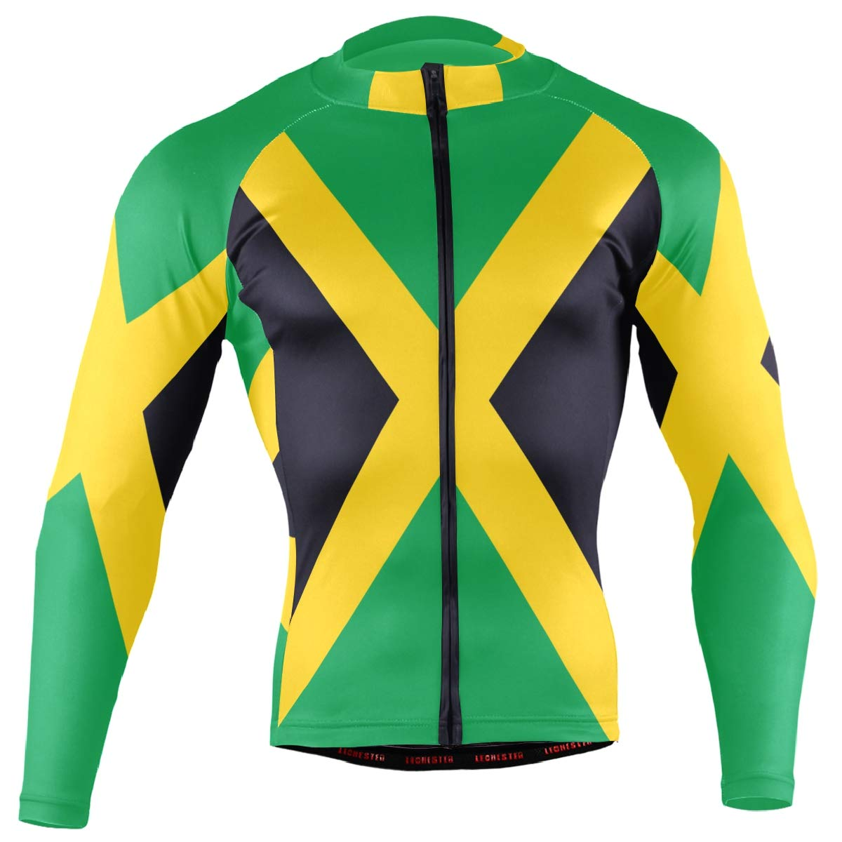 CHINEIN Men's Cycling Jersey Long Sleeve with 3 Rear Pockets Shirt Jamaica Flag by CHINEIN