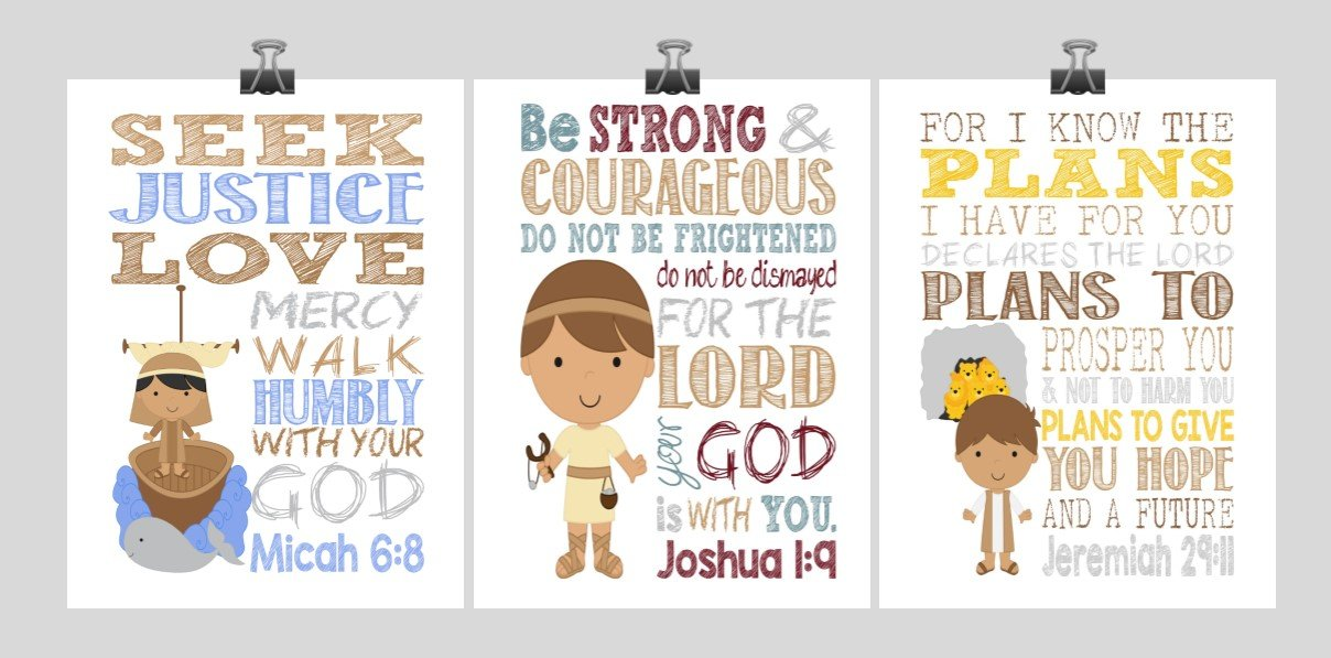 Biblical Christian Superhero Nursery Art Print Set of 3 - David & Goliath, Jonah and the Whale, Daniel in the Lion's Den - Multiple Sizes by Pixie Paper