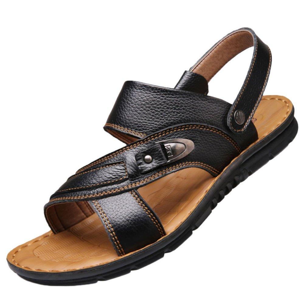 snfgoij Sandalias Para Hombres Deportes Al Aire Libre Ajustables Zapatos Cómodos Para La Playa Calzado Abierto De Cuero Genuino De Verano 37 EU|Black