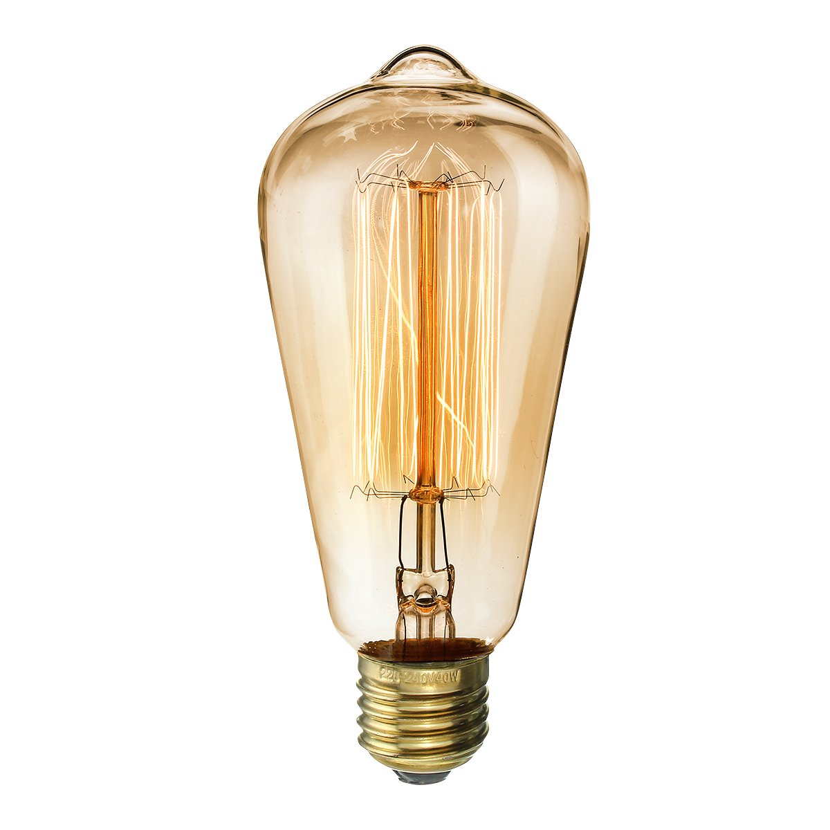 Kingso Vintage Light Bulb Retro Old Fashioned Edison Style Screw St64 19 Anchors Squirrel Cage