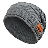 Pococina Wireless Hands-Free Bluetooth Beanie Hat For Men Sport Speaker Knit Cap For Women, Built-in Mic (Grey)