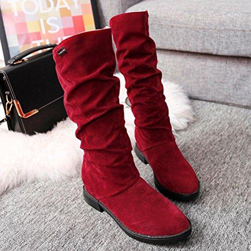 TPulling Herbst Und Winter Frühling Modelle Schuhe Mode Damen Wildleder Flache Stiefel Wärme Outdoor Booties Ankle Lässige Schuhe Martin Stiefe Rot