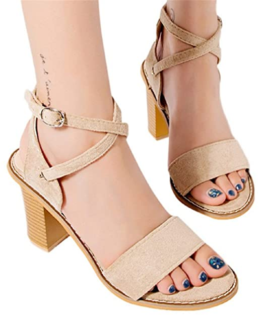 f1bb92a0a938a Amazon.com: Women High Heel Sandals Ankle Buckle Strap Party Sandals ...