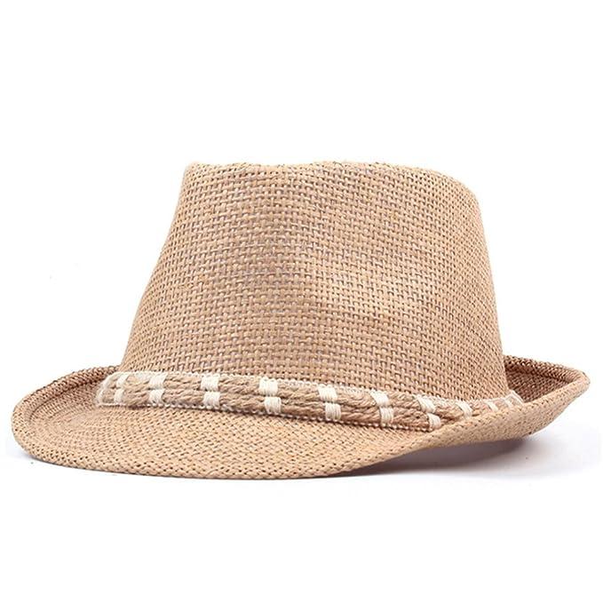 07b7ddc62c2c August Jim Sombreros de Paja Fedora para Hombre y Mujer, Gorros de ...
