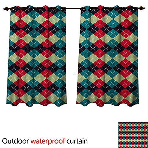 (WilliamsDecor Navy and Teal Outdoor Balcony Privacy Curtain Classical Argyle Diamond Line Pattern Vintage Traditional Colorful Retro W72 x L63(183cm x 160cm))