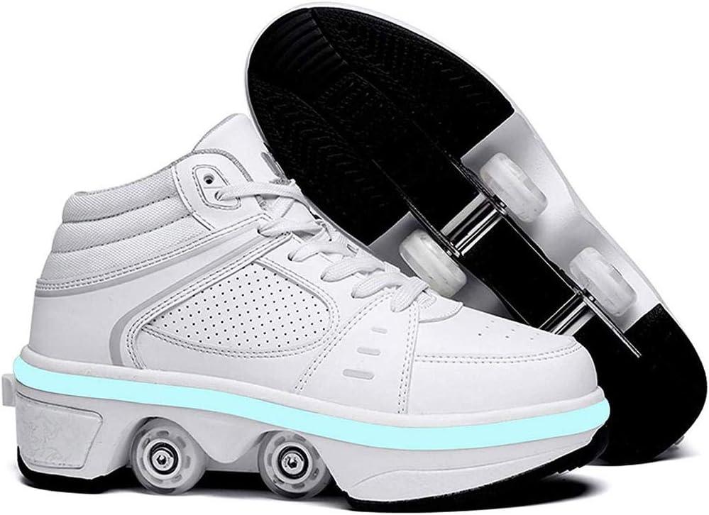 2 In 1 Mehrzweckschuhe Schuhe Mit Rollen Skateboardschuhe,Versenkbare 4 Runden Inline-Skate Outdoor-Sportarten Turnschuhe Sneakers ZXSZX LED-Rollschuhe Skates Lauflernschuhe