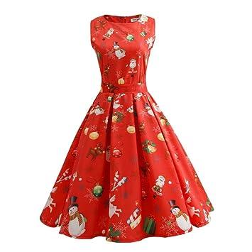 Vestido de Navidad Tallas grandes de las Mujeres, LILICAT Vestido de Fiesta Largo sin Mangas