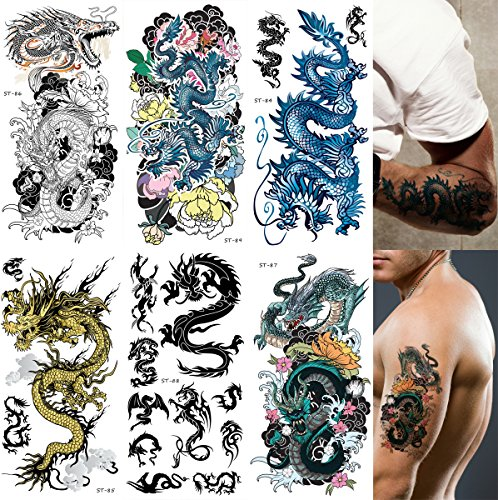 Dragon Tattoo Leg (Supperb Mix Dragons Temporary Tattoo / 6-pack (Traditional Set))