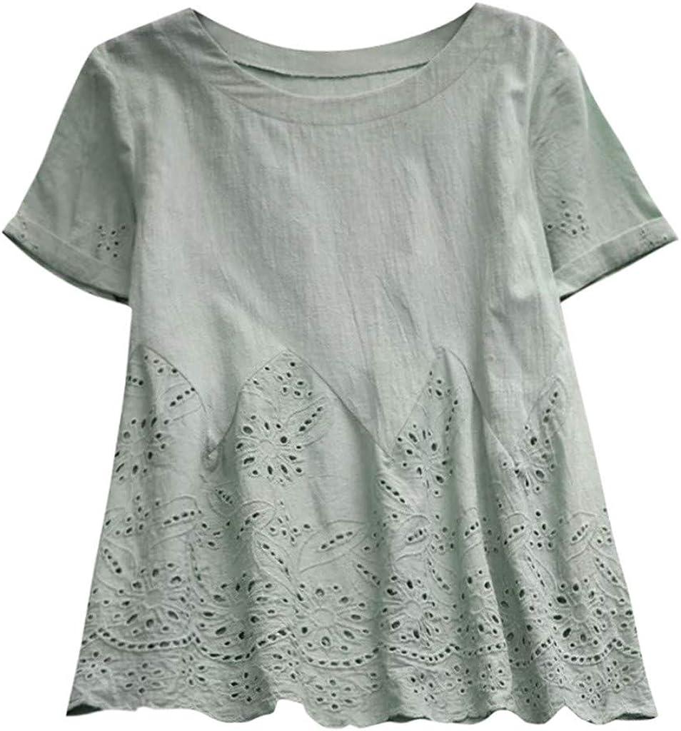 Allywit Plus Size Women V-Neck Vintage Boho Floral Blouse Summer Casual Loose Bandage Tunic Tops T-Shirt