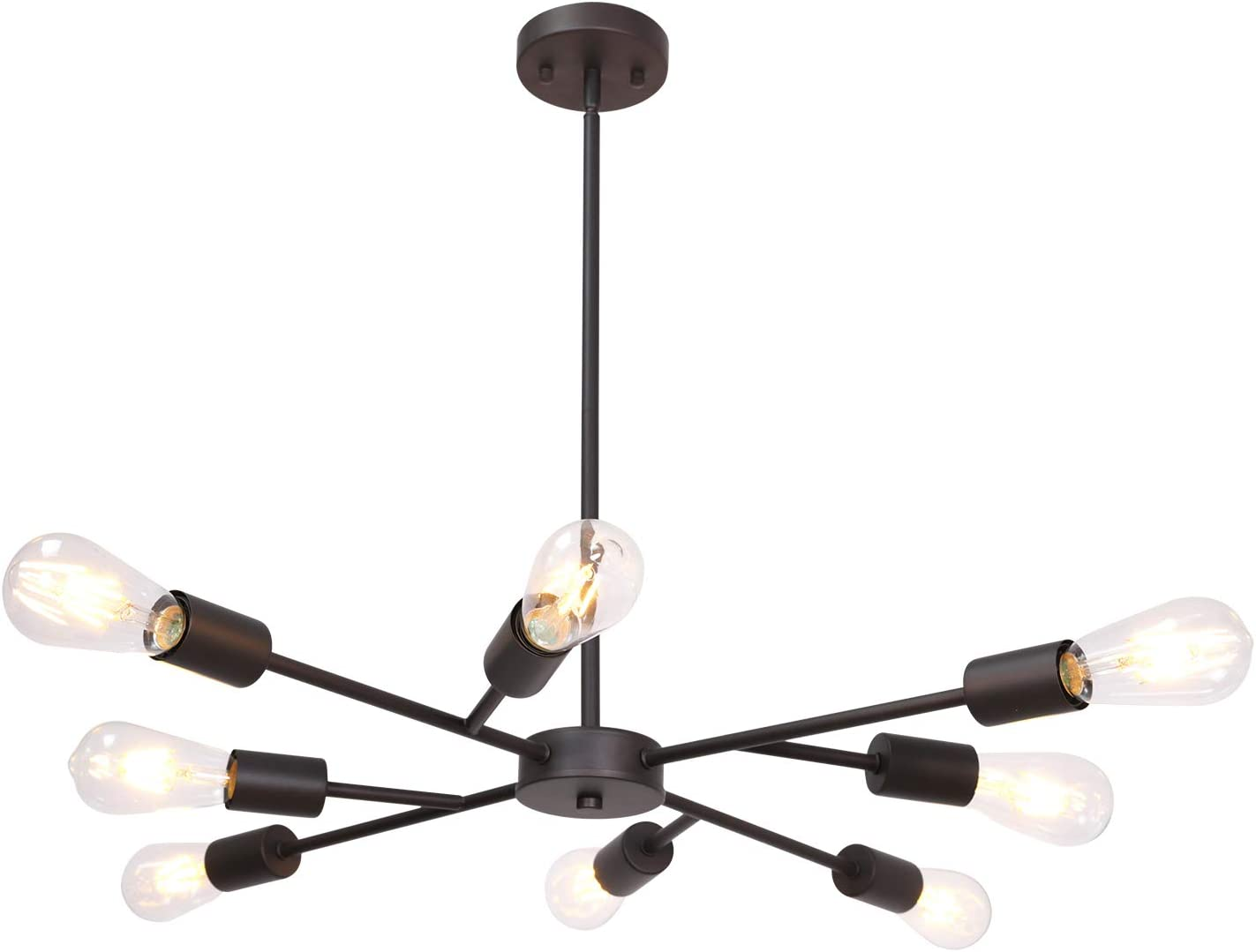Lucidce Modern Sputnik Chandelier Lighting 8 Lights Oil Rubbed Bronze Finish with Adjustable Arms Mid Century Pendant Light Vintage Industrial Farmhouse Ceiling Light Fixture