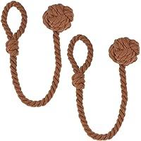 Blesiya 2Pcs Handmade Curtain Cotton Rope Tie Backs Ball Tiebacks Holdbacks Home Decor