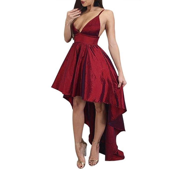 AIMEE7 Vestido Escote v Vestido Fiesta Mujer Largo Vestido Sexy Mujer Vestido Halter Vestido Hombros Descubiertos