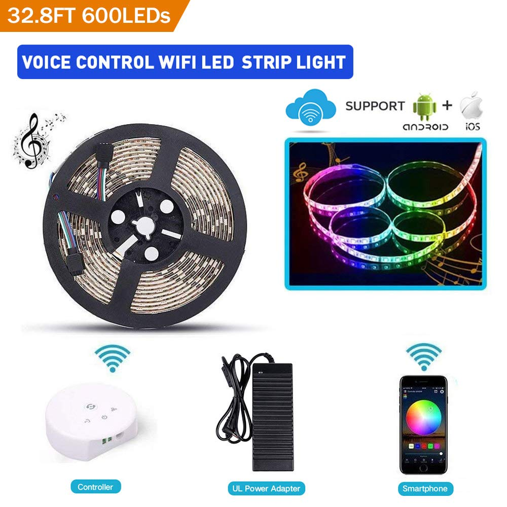 Sanwo WiFi LED Lights Strip Kit, Wireless Remote Controller, 24V Power Adapter, 32.8ft 600LEDS 5050 RGB Waterproof IP65 Strip Light, Rope Lights Fixing Clips, Support Android, iOS Alexa
