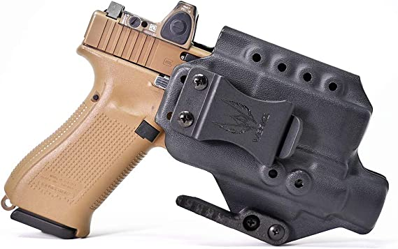 Werkz M6 Light Bearing Kydex Holster (Black) - Inside Waist Band (IWB) or Appendix (AIWB) Concealed Carry - Precise Fit with Concealment Claw - Made in USA