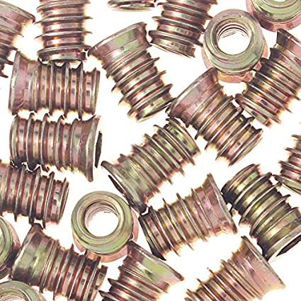 1//4-20 Threaded Inserts for Wood 10mm Length Pack of 50