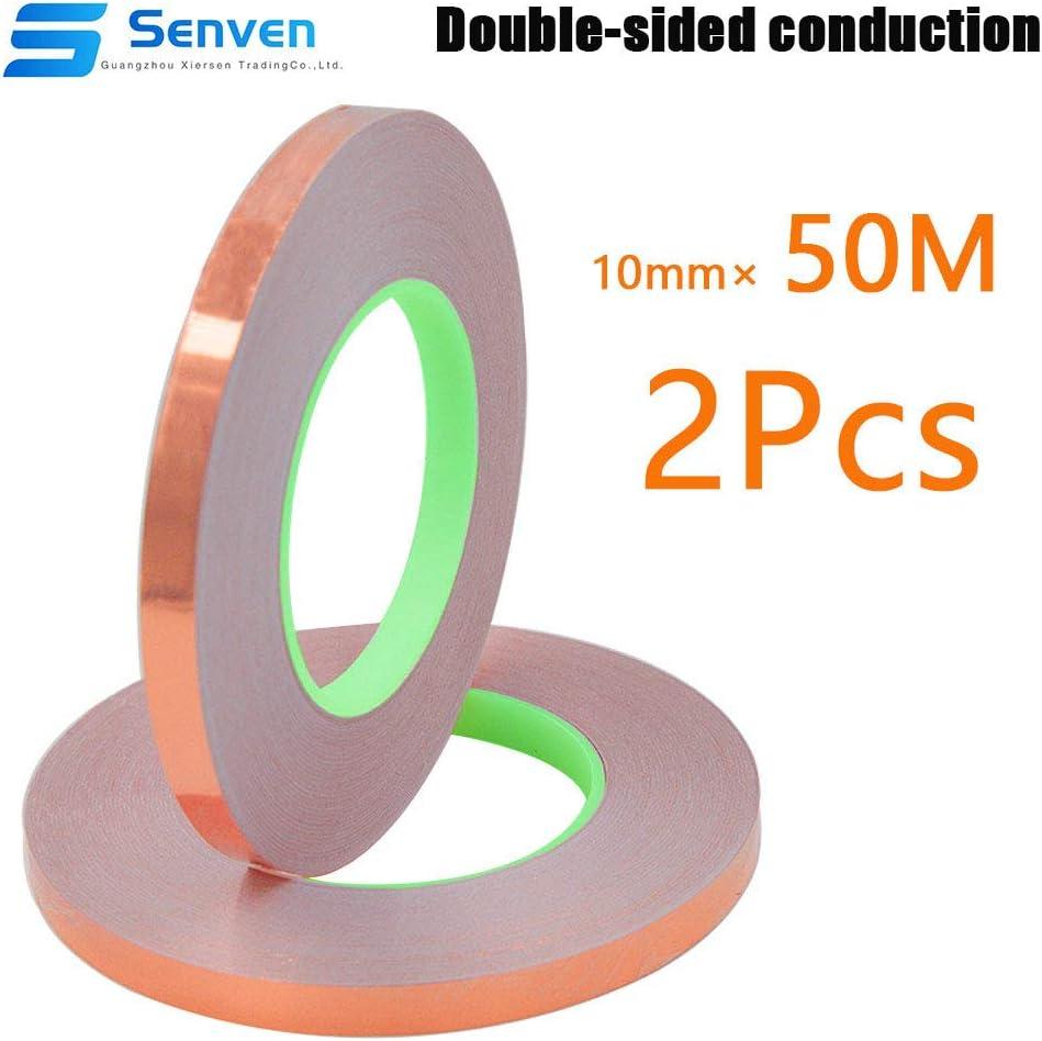 Senven Cinta Adhesiva primera calidad cobre - Conductor doble cara - (50m × 10 mm) × 2 - Blindaje EMI y RF, circuitos papel, soldadura, reparaciones eléctricas, Repelente de babosas - Paquete de 2