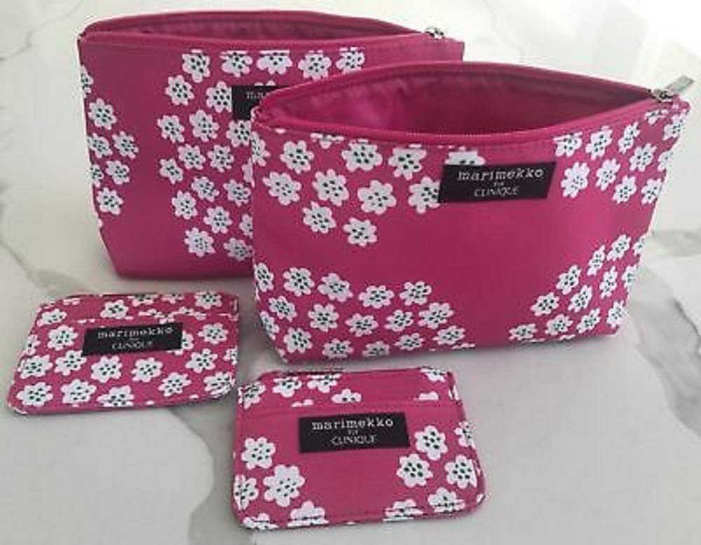 Lot of 4 Clinique Fabric Floral Cosmetic Bags Spring 2012 2 regular 2 mini bags
