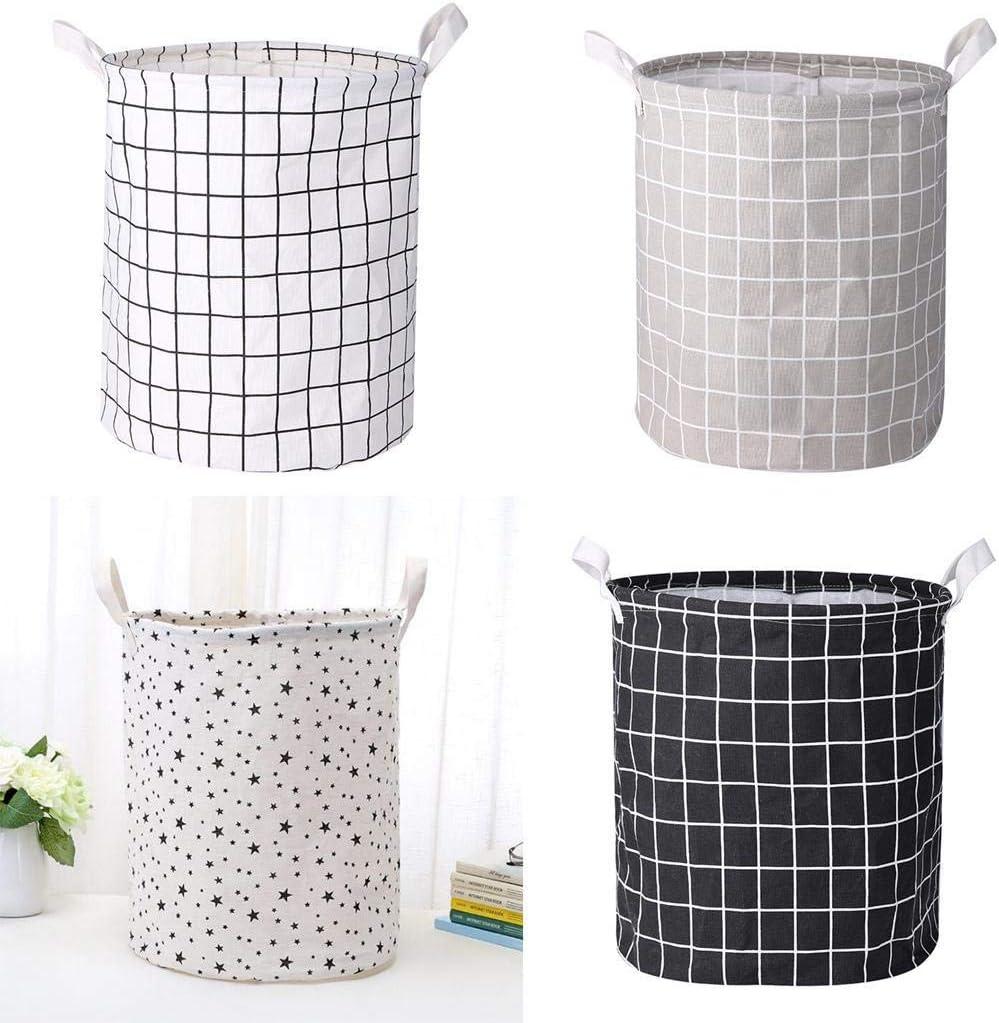 dozenla Cotton Linen Storage Bin Folding Laundry Clothes Basket Organizer Shelf Baskets