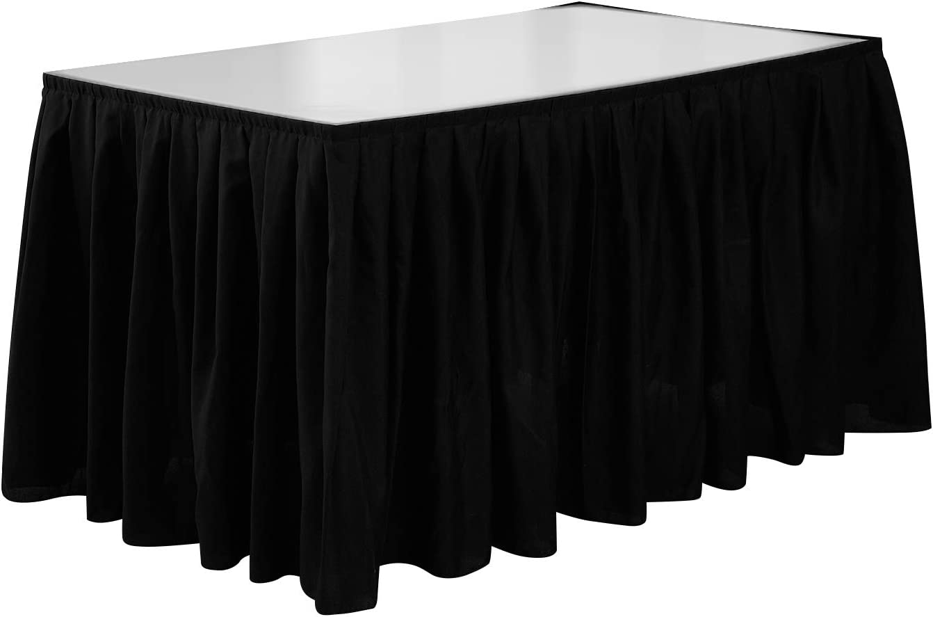 Deconovo 14ft Accordion Pleat Oxforad Spillproof Skirt for Rectangle Table, 14 ft, Black1