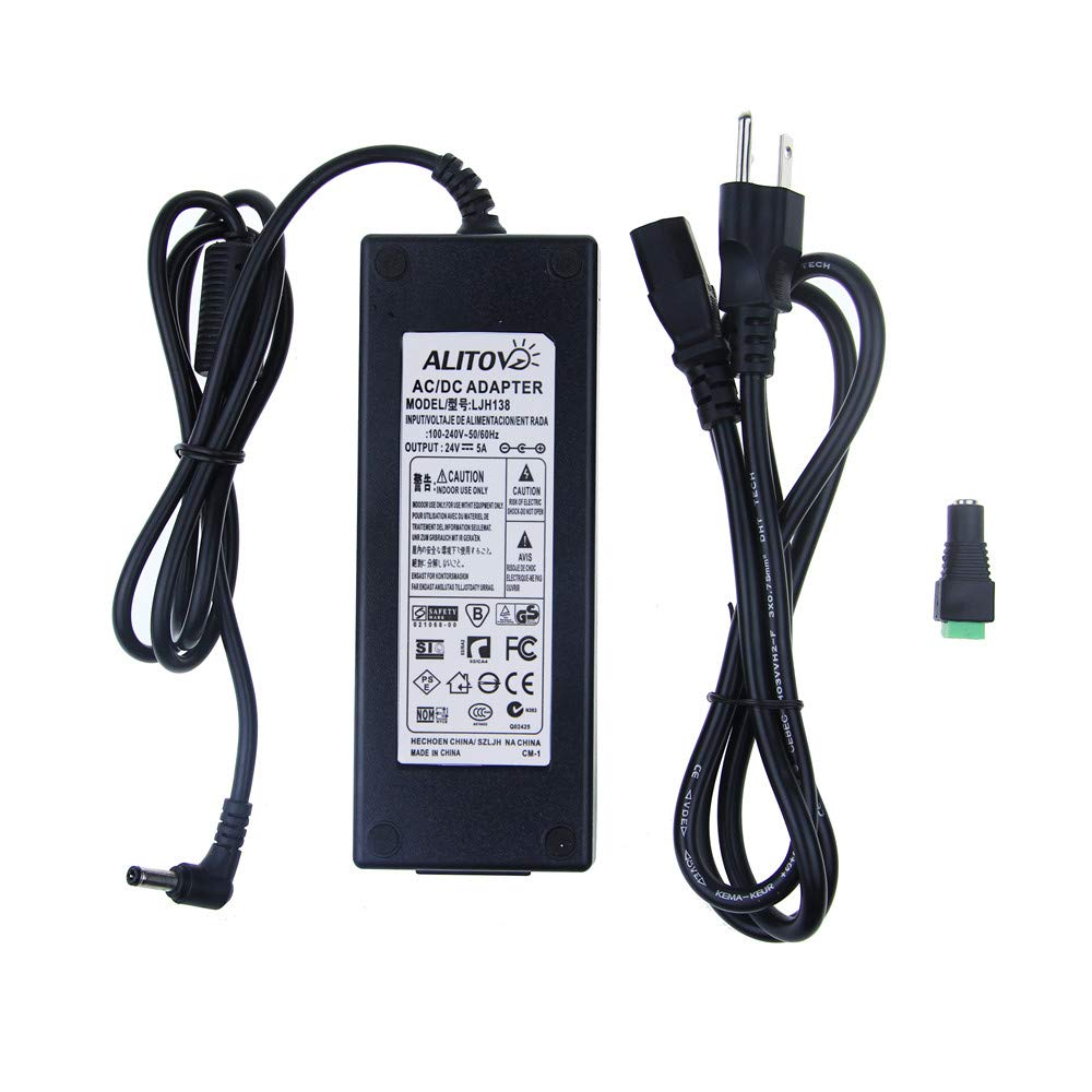 ALITOVE AC 100 240V to DC 24V 5A Power Supply Adapter Converter Charger with 5.5x2.1mm DC Output Jack for 5050 3528 LED Strip Module Light
