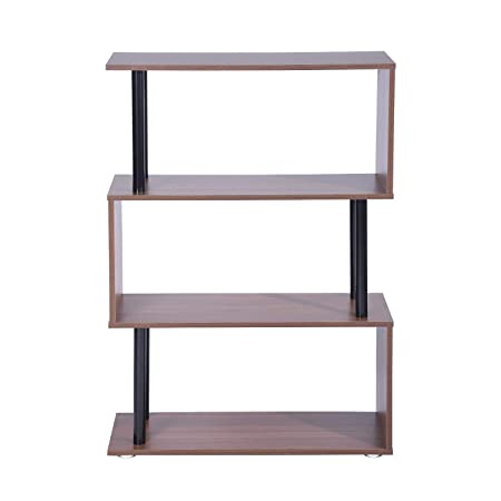 HOMY CASA 3 Tiers Rustic Style Bookshelf Walnut Wood Metal Bookcase Open Storage Shelves,Brown