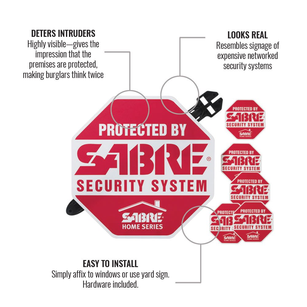 Home Security Alarm Yard Sign and 5 Window Decal Stickers Crime Deterrent