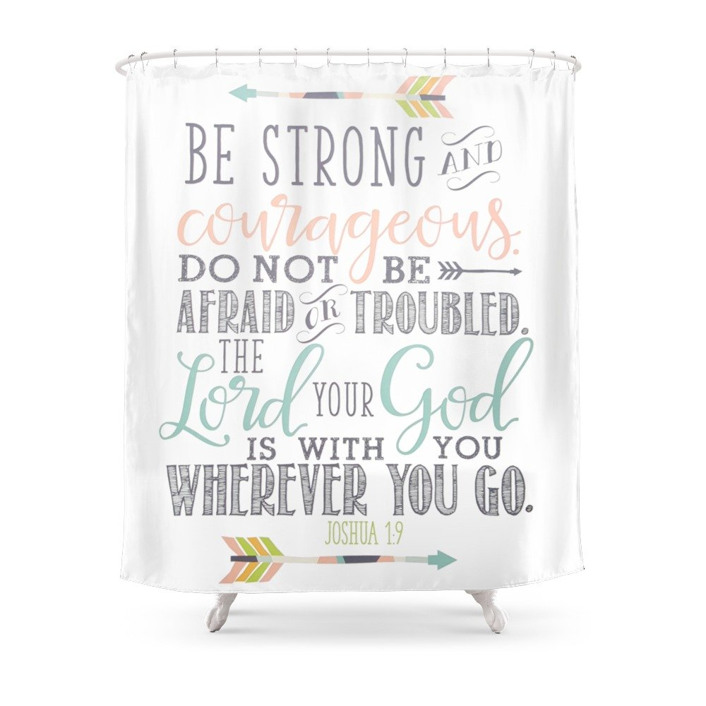 Society6 Joshua 1:9 Bible Verse Shower Curtain 71'' by 74'' by Society6