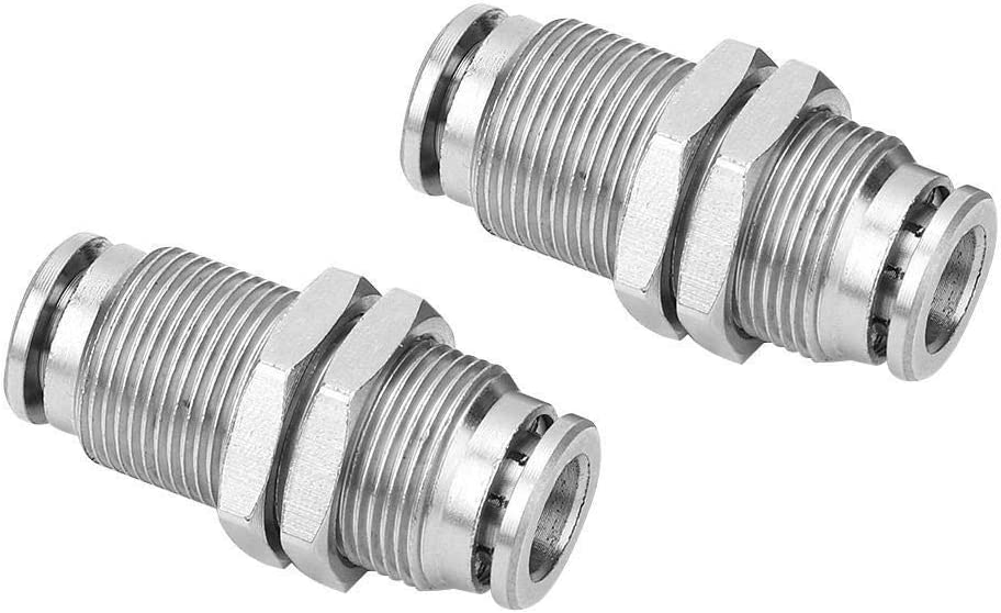 Tarente 2Pcs Pneumatic Bulkhead Connector Push in Fittings BSPP Male Thread 8mm