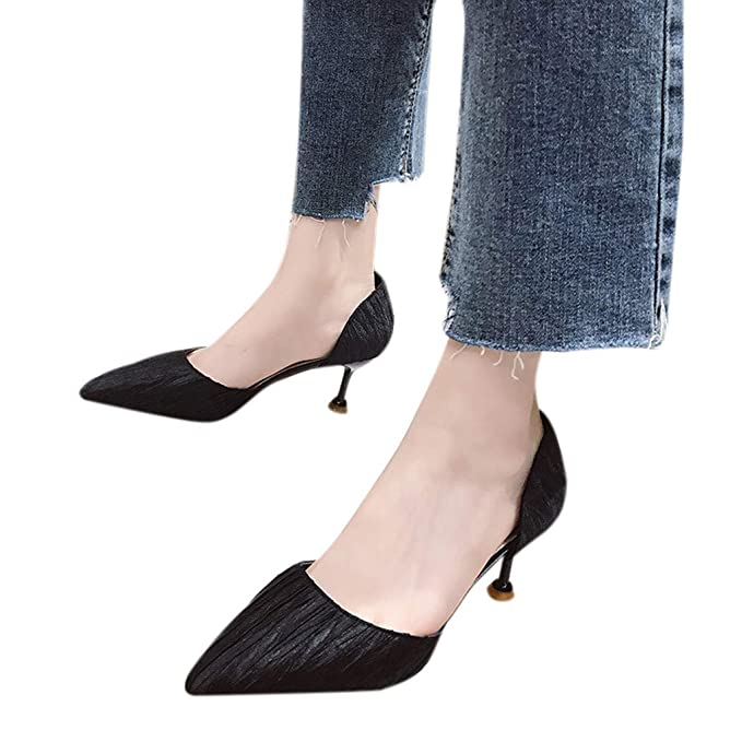 2019 Bailarinas Elegante De Mujer Zapatos Fino Tacón Sandalias KclJF3T1