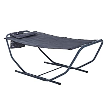 High Quality Outsunny Freestanding Garden Hammock Patio Outdoor Lounge Swing Chair With  Metal Stand And Pillow   Grey