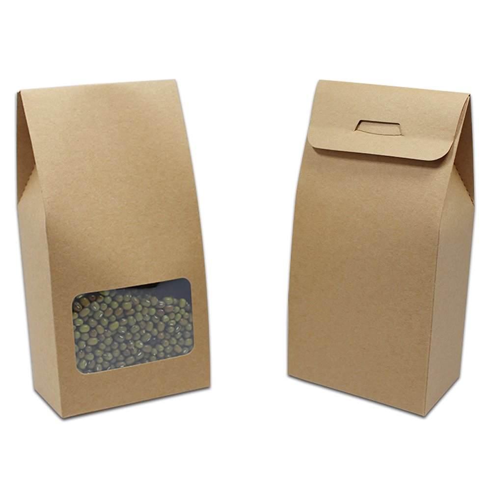 Kraft Paper Gift Wedding Bakery Package Box with Clear Window Visual Brown Paperboard Cupcake Biscuits Bakeware Decorating Reclosable Wrapping Packaging (3.1x6.1+1.9 inch, 20 Pieces)