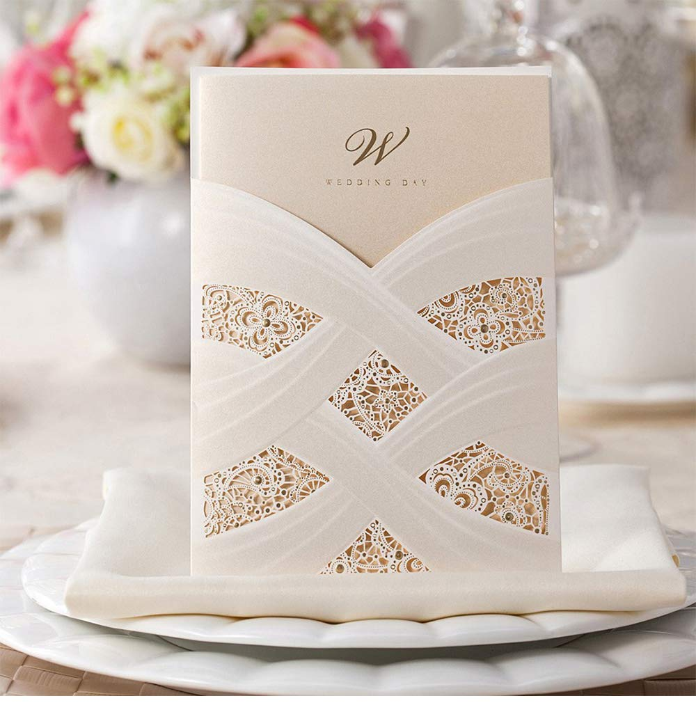 Wishmade Wedding Invitations Cards Kits 20 Count Ivory Laser Cut Engagement Lace Style Vertical Pockets for Marriage Anniversary