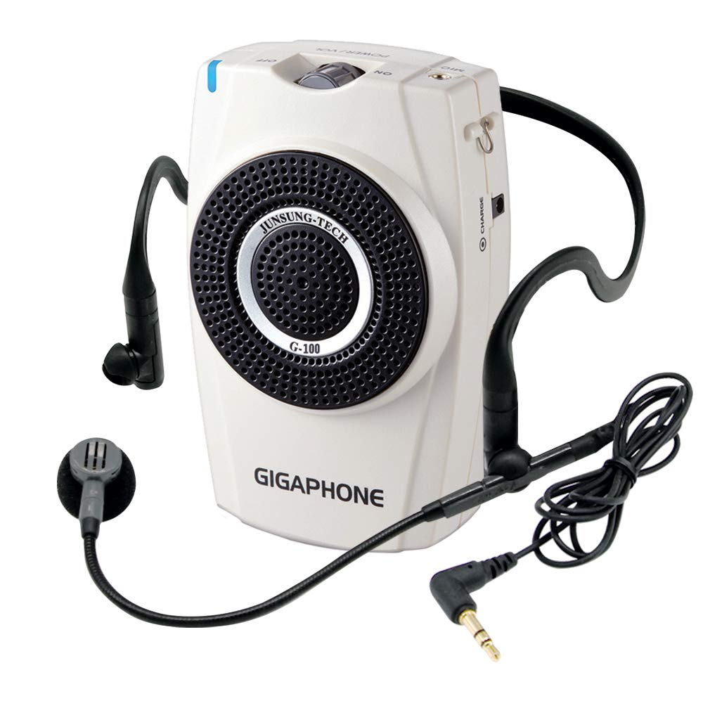GIGAPHONE G100 Voice Amplifier [30W] Portable Waterproof Compact [3.35 x 5.28 x 1.81 inches/0.65 lb] PA System with Wired Microphone, Waistband, 1700mAh Rechargeable Battery and Shoulder Strap